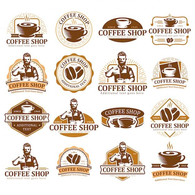 Set di logo caffè, badge etichetta caffè o pacchetto emblema, collezione di etichette bar. Vettore Premium