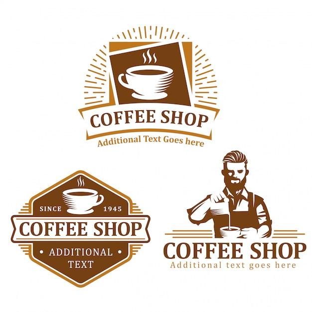 Set di logo caffè, badge etichetta caffè o pacchetto emblema Vettore Premium