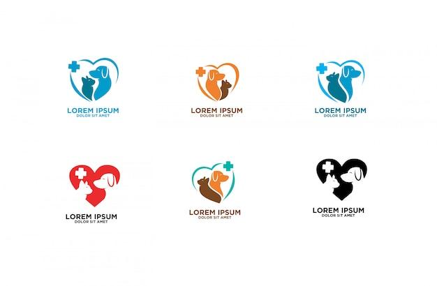 Set di logo dell'animale domestico dell'animale domestico Vettore Premium