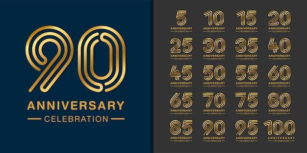 Set di logo dell'anniversario dorato. Vettore Premium