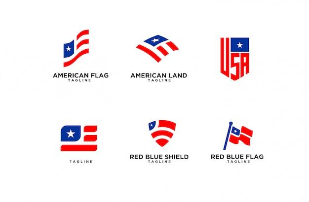Set di logo della bandiera americana Vettore Premium