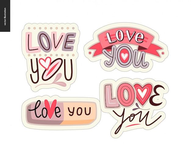 Set di logo della lettera love you contemporanea della ragazza Vettore Premium