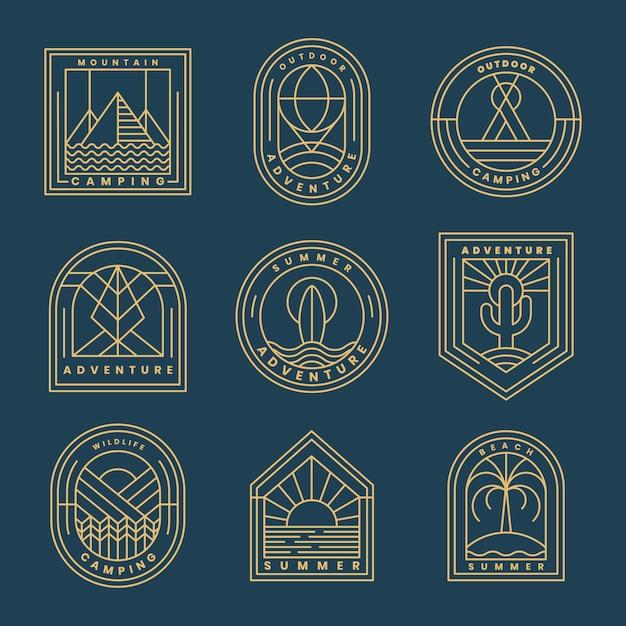 Set di logo di avventura Vettore gratuito