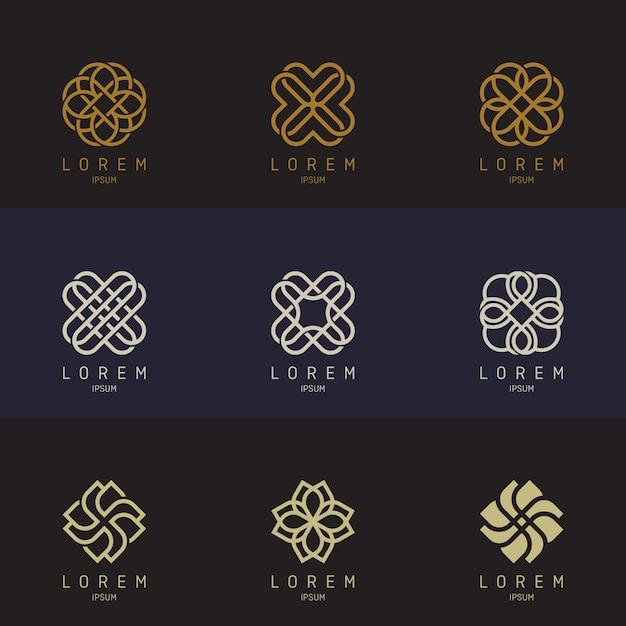 Set di logo di contorno Vettore Premium