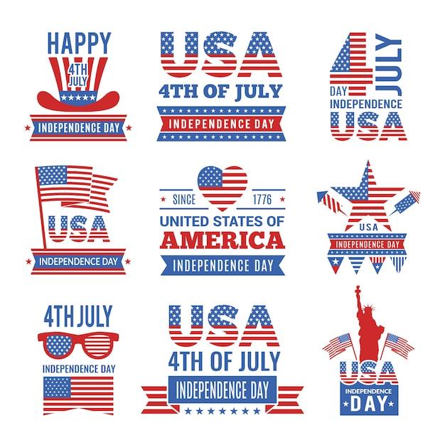 Set di logo di festa dell'indipendenza del 4 luglio. Vettore Premium