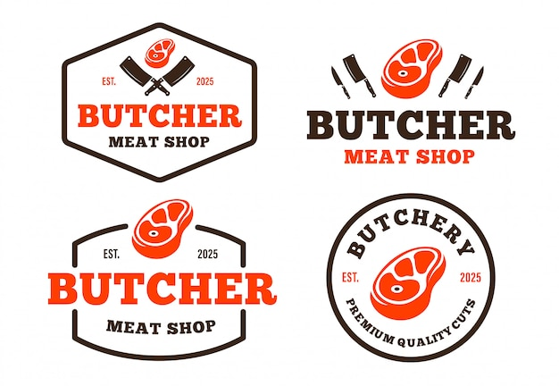Set di logo di macelleria in stile retrò per generi alimentari, negozi di carne, imballaggi e pubblicità Vettore Premium