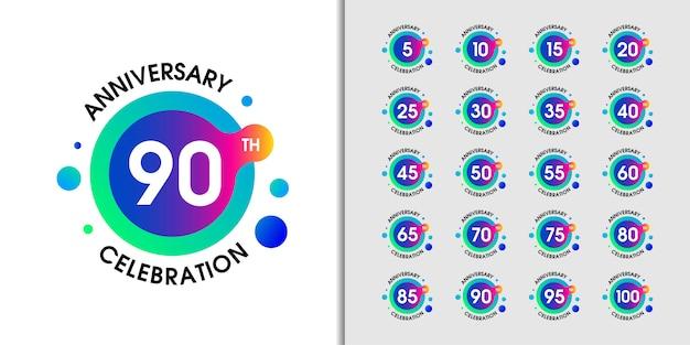 Set di logo moderno anniversario. Vettore Premium