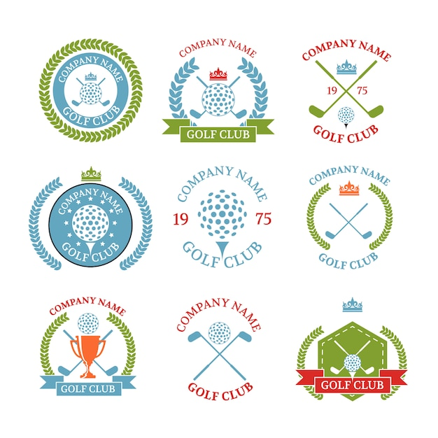 Set di logotipi di mazze da golf Vettore Premium