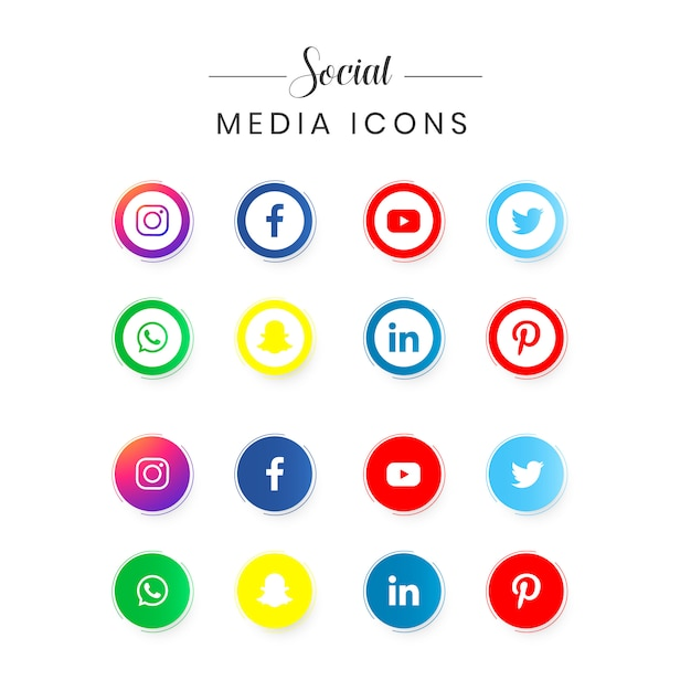 Set di logotipi di social media popolari Vettore Premium