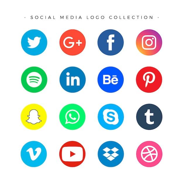 Set di logotipi di social media Vettore gratuito