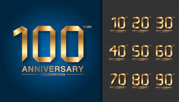 Set di logotipo di anniversario d'oro. Vettore Premium