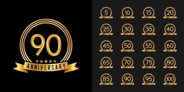 Set di logotipo di anniversario. disegno dell'emblema di celebrazione anniversario d'oro. Vettore Premium