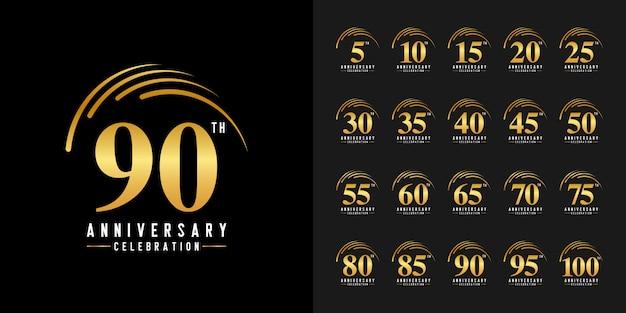 Set di logotipo di celebrazione anniversario d'oro. Vettore Premium