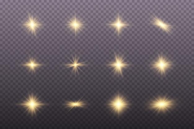 Set di luci dorate incandescente Vettore Premium