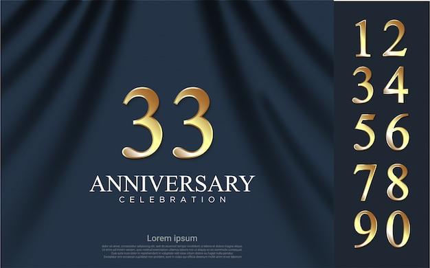 Set di lusso di numeri d'oro per la celebrazione con sfondo di tenda Vettore Premium
