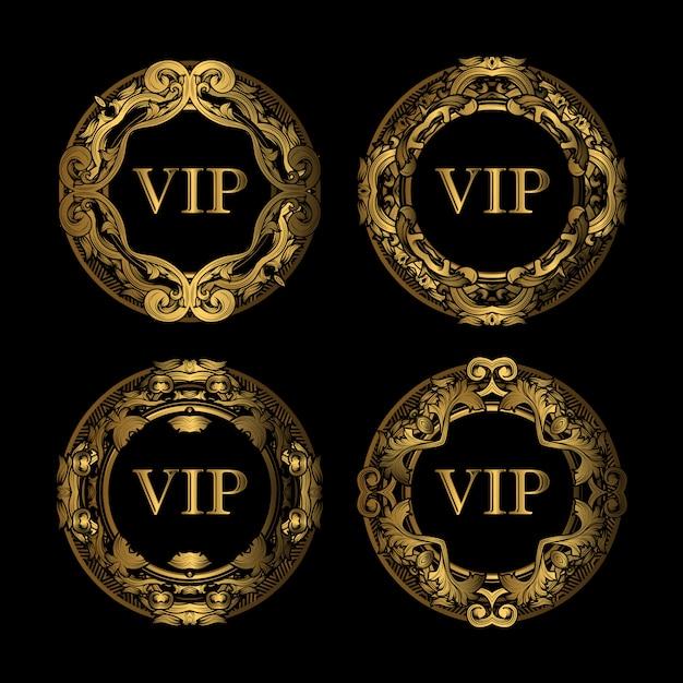 Set di lusso vip golden frame Vettore Premium