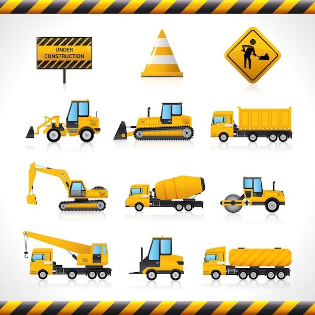 Set di macchine da costruzione scaricare vettori gratis for Software di costruzione gratuito