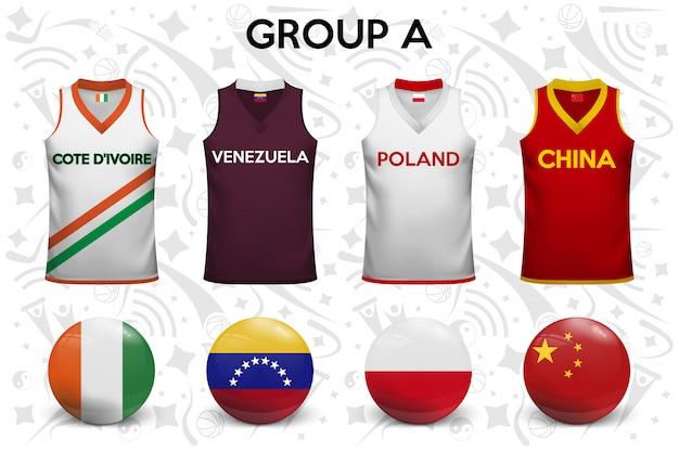 Set di magliette e bandiere delle squadre nazionali. Vettore Premium