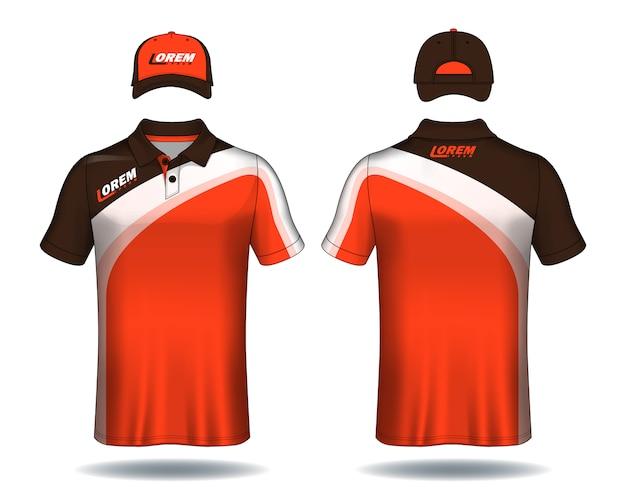 Set di magliette polo e cappellini modello uniforme. Vettore Premium