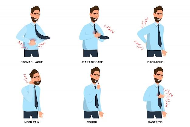 Set di mal di stomaco uomo malato, malattie cardiache, mal di schiena, dolore al collo, tosse e gastrite Vettore Premium