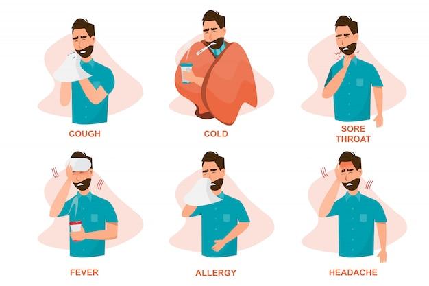 Set di malati che si sentono male, tossiscono, hanno freddo, mal di gola, febbre, allergia e mal di testa Vettore Premium