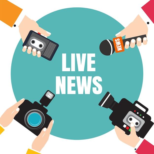 Set di mani che tengono registratori vocali, microfoni, fotocamera. notizie dal vivo stampa illustrazione Vettore Premium