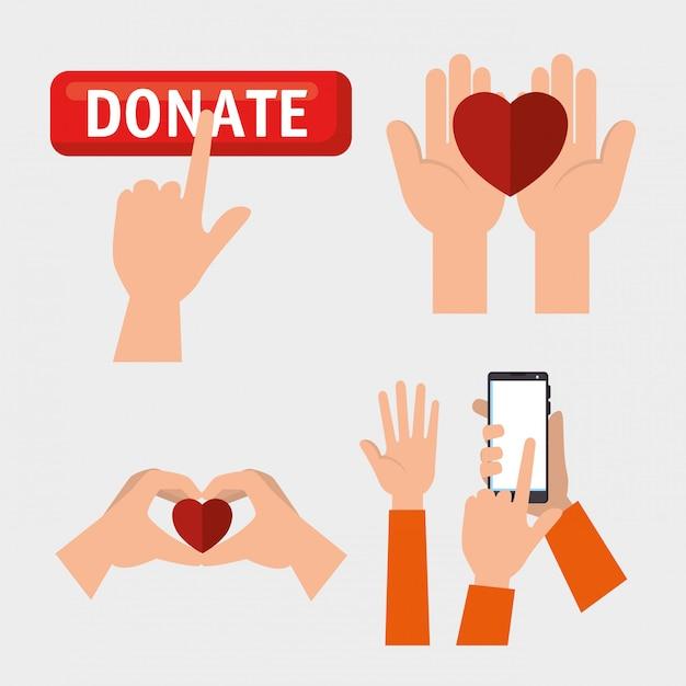 Set di mani con cuori per donazione di beneficenza Vettore gratuito