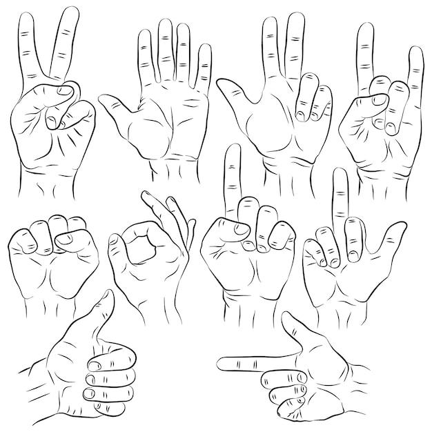 Set di mani in diversi gesti emozioni e segni su bianco Vettore Premium