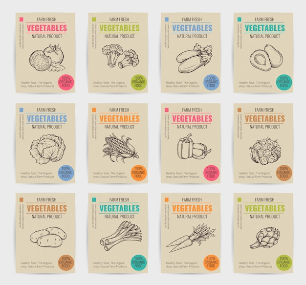 Set di manifesti di verdure disegnate a mano. Vettore Premium