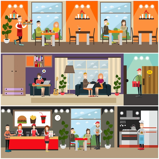 Set di manifesti piatti fast food, banner Vettore Premium