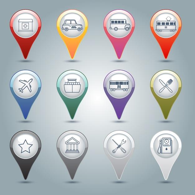 Set di marcatori gps Vettore gratuito