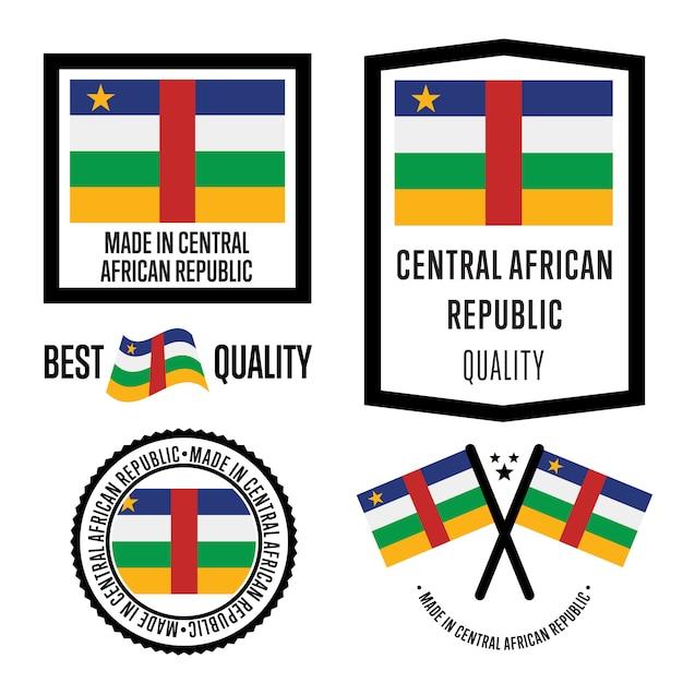 Set di marchi di qualità della repubblica centrafricana Vettore Premium