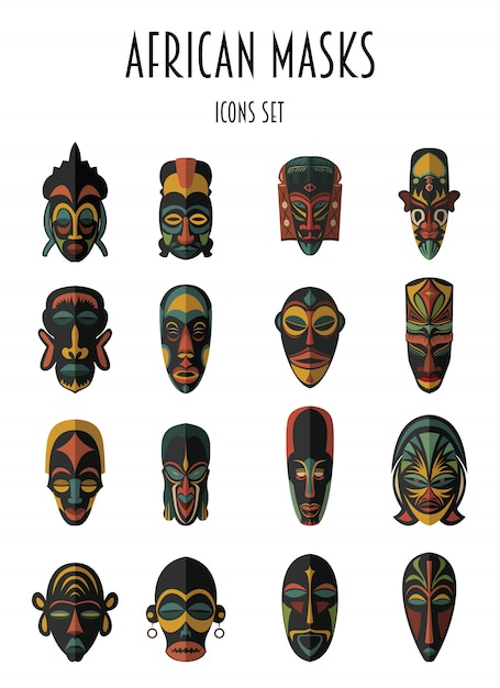 Set di maschere tribali etniche africane. simboli rituali. Vettore Premium