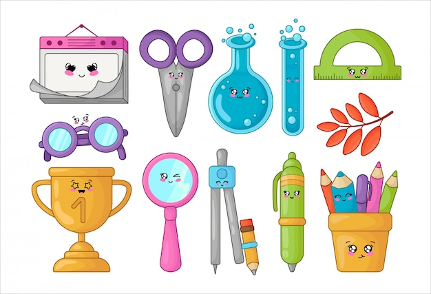 Set di materiale scolastico kawaii, torna al concetto di scuola, simpatici personaggi dei cartoni animati Vettore Premium