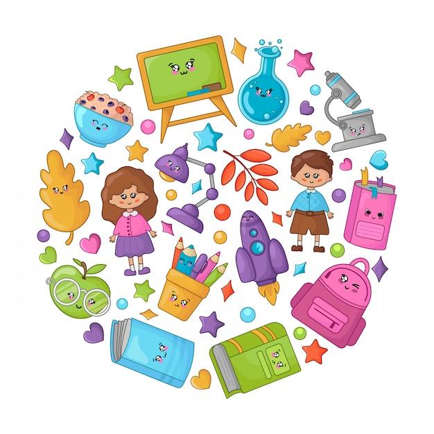 Set di materiale scolastico per cartoni animati kawaii, ritorno a scuola Vettore Premium