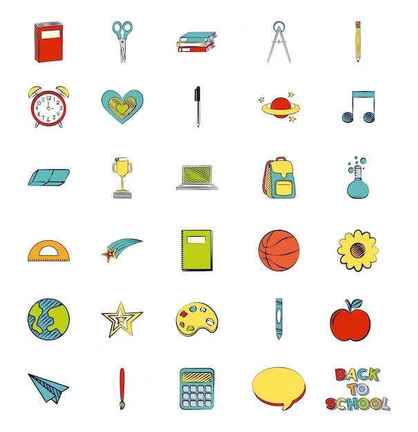 Set di materiale scolastico, torna a illustrazione della scuola Vettore gratuito