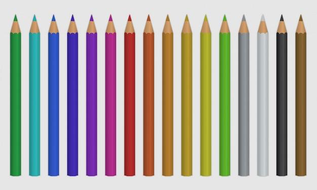 Set di matite colorate Vettore Premium