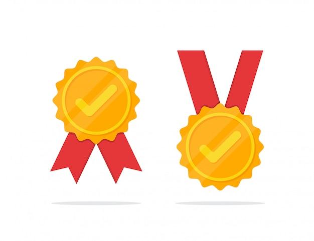 Set di medaglia d'oro con l'icona di spunta in un design piatto Vettore Premium