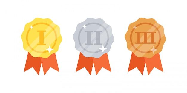 Set di medaglie d'oro, d'argento, di bronzo con nastri Vettore Premium