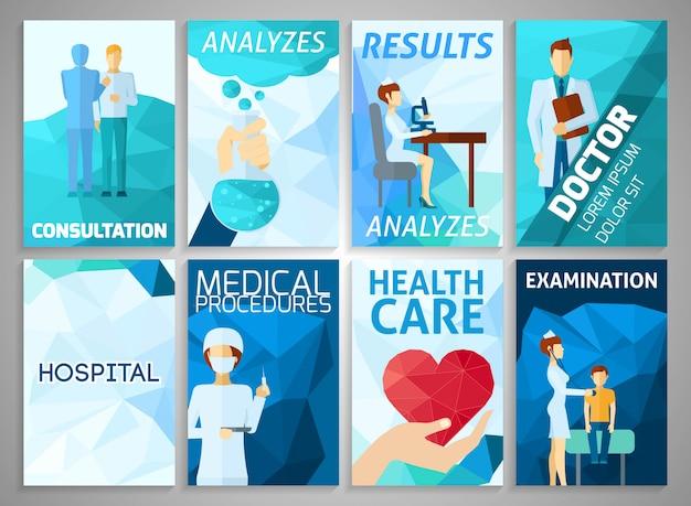 Set di medicina flyer Vettore gratuito