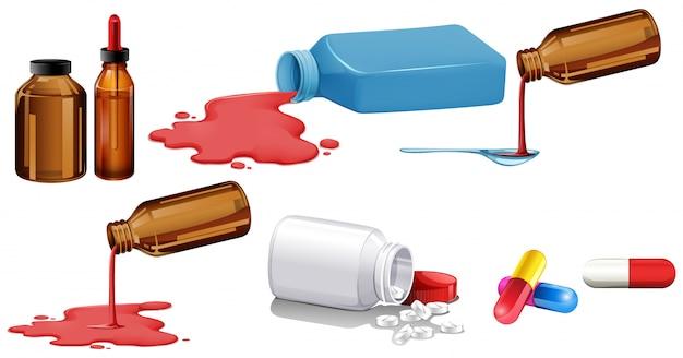 Set di medicina isolata in bottiglie Vettore gratuito