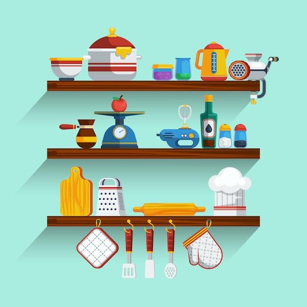 Set di mensole da cucina | Scaricare vettori gratis