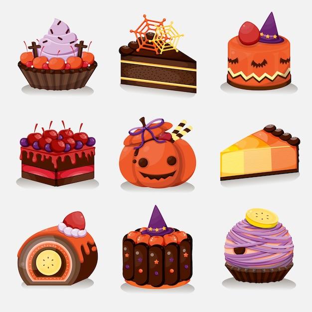 Set di menu dessert di halloween. torta dolce di halloween. Vettore Premium