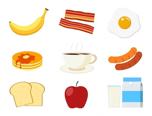 Set di menu per la colazione Vettore Premium