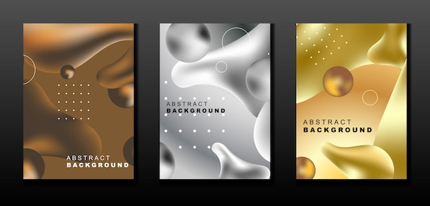 Set di metallo liquido sfondo astratto Vettore Premium