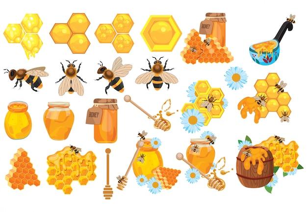 Set di miele raccolta di apicoltura. insieme dell'apiario del fumetto. illustrazione dell'alveare. Vettore Premium