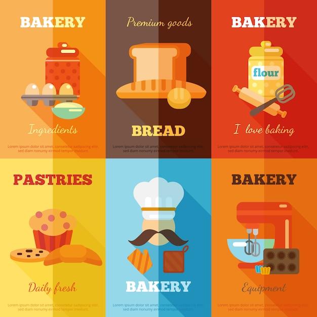 Set di mini poster da forno Vettore gratuito