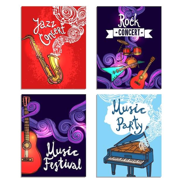 Set di mini poster musicali Vettore gratuito