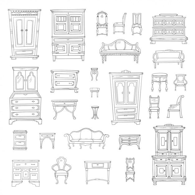 Set di mobili antichi: armadio, comodino, armadio, sedie, comodini e uffici isolati. collezione retrò disegnata a mano di vettore. stile schizzo. Vettore Premium