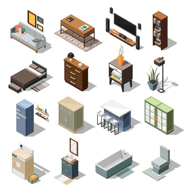Set di mobili appartamento isometrico Vettore gratuito